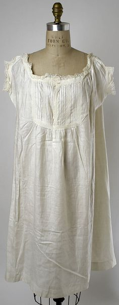Linen chemise with tucked yoke and eyelet lace trim, American, ca. 1870.
