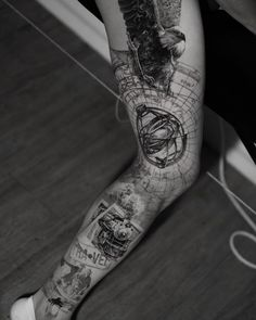 Full leg tattoo for travel lover