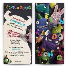 Einladungskarten Zum Geburtstag Für Kinder   Monster #geburtstag #einladung  #geburtstagseinladung #kindergeburtstag #