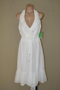 NWT White Lilly Pulitzer Boned Bodice Silk Blend Boho Ruffle Halter Dress sz 12 #LillyPulitzer #Sundress #SummerBeach
