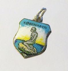 Copenhagen Kobenhavn Vtg Silver Enamel Shield Travel Charm Souvenir | eBay