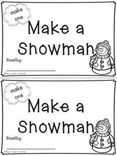 """Emergent Reader Sight Word Book #7 - """"Make a Snowman"""""""