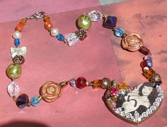 Bettie PAGE Heart Kawaii Pendant charm Necklace Real Crystal Rose Altered art by FilthyCoffin, $52.00 Free world shipping