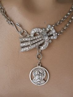 All Things Under Heaven ... vintage paste religious medal madonna and child necklace via Etsy