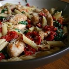 "Spinach and Sun-Dried Tomato Pasta | ""Very good, very simple. I added some artichoke hearts and a little salt to taste!"""