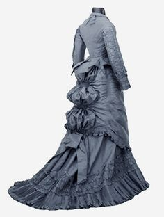 U.S.: Illinois, Chicago Dress, day: bodice (woman's) c. 1870 - 1875 Twill weave; Crochet; Wrapped Silk taffeta