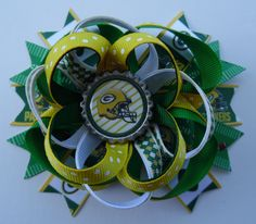 Wisconsin Green Bay Packers Football Stacked Twisted Boutique Hair Bow Alligator Clip Barrette Grosgrain Ribbon Bottle Cap Handmade by KraftyKreations2014 on Etsy