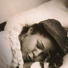Etta James asleep with cat