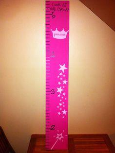 Pretty pink princess wood growth chart. $30.00, via Etsy.
