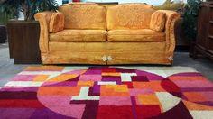 Mint condition Hollywood Regency orange velvet loveseat and vintage Rya style rug
