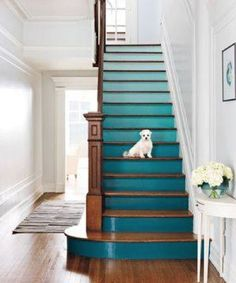 Turquoise ombre stair risers