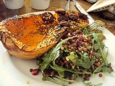 RMR shares a lentil, feta, pomegranate and rocket salad with Roasted butternut squash topped with poppy seeds, sesame seeds and crispy chorizo. Must try!