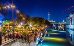 Descargar fondos de pantalla Berlín, la noche, la Isla de los museos, la torre de TELEVISIÓN, el río Spree, Alemania
