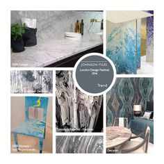 Inspired by our recent blog posts, this moodboard features marble – the material of the season, spotted at 100% Design and by Timorous Beasties at Decorex International...