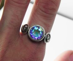 Mystic Topaz Engagement Ring  Unique by FantaSeaJewelry on Etsy, $155.00