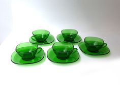 Vintage mid century French Vereco green glass coffee by evaelena