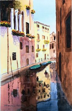 How to paint the Venice Canal in watercolors. Catch this 2 hour live class replay for only $14. This beautiful class is presented in a step by step method. Learn how to create extra interest in Cityscapes and also adding canals. Click on the image to go to the page. art, painting, watercolor, watercolour, lesson, online, city, water
