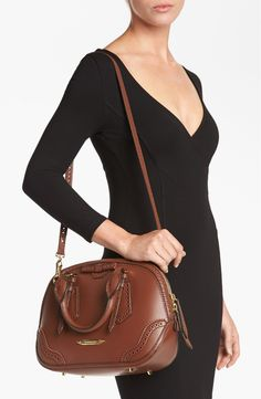 Free shipping and returns on Burberry 'Orchard - Small' Brogued Leather Satchel at Nordstrom.com. Rich lambskin, expertly brogued for depth and texture, shapes a perfectly sized satchel with a retro bowling silhouette. Show off your impeccable taste with a golden logo plaque and optional crossbody strap.