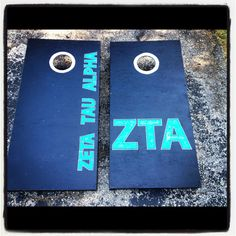 Zeta Tau Alpha corn hole games - made by one of my chapter sisters! I so want a set myself!!