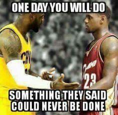 LeBron to his younger self. Basketball Motivation, Basketball Memes, Basketball Legends, Sports Basketball, Sports Memes, Sports Pics, Funny Sports, King Lebron James, King James