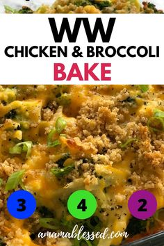 This WW Chicken Broccoli Bake is great for a quick and satisfying healthy dinner. Weight Watchers Casserole, Weight Watchers Lunches, Weight Watchers Meal Plans, Weigh Watchers, Weight Watchers Smart Points, Weight Watcher Dinners, Weight Watchers Chicken, Weight Watcher Breakfast, Weight Watcher Desserts