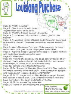Louisiana Purchase: Flip Book and Mini Book 4th Grade Social Studies, Social Studies Worksheets, Louisiana History, Westward Expansion, Louisiana Purchase, American Story, Fifth Grade, Interactive Notebooks, Mini Books