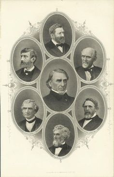 WELLSTOOD 7 Political Portraits Washburne Kelley Schenck Morrill Fenton CA 1884