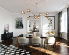 Interior rendering of a haussmann project. Interior Rendering, Interior Design Tips, Interior Design Inspiration, Interior Styling, Interior Decorating, Dining Table Lighting, Dining Room Table, Scandinavian Home Interiors, Home Furniture