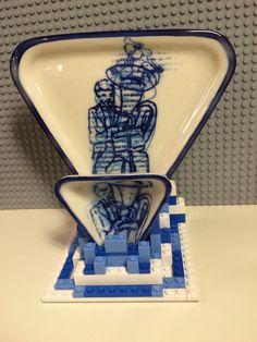Tuba Player Dinnerware  slip cast porcelain, glaze, in glaze decal of my illustrations, LEGO supports