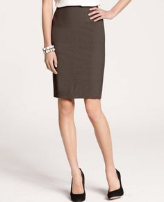 Work-appropriate skirt. Notice the length is just above the knee and the color is neutral.