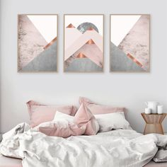 Downloadable blush pink grey and copper mountains triptych