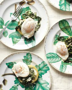 Sardou-Style Eggs from Martha Stewart:  Roasted Artichokes, Creamed Collard Greens, Poached Eggs and a dash or Cayenne Pepper