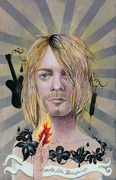 Kurt Cobain for The Guardian, London. By Olaf Hajek.