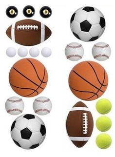SPORT BALLS wall stickers 20 BIG decals FOOTBALL SOCCER BASEBALL GOLF POOL room