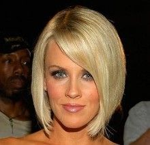 blonde bob hairstyle with side bangs