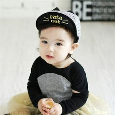 Fair price Spring Summer Baby Embroidery Cat Hats Baseball Cap Baby Boy Beret Baby Girls Lovely Sun Hat Black/Grey just only $2.23 with free shipping worldwide  #babyboysclothing Plese click on picture to see our special price for you