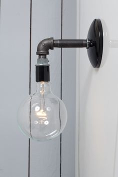 Industrial Black Pipe Wall Sconce Light - Bare Bulb Lamp