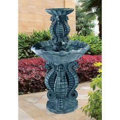 Spirit of the Ocean Two-Tier Seahorse Fountain #waterfountain #gardenfountain #coastal