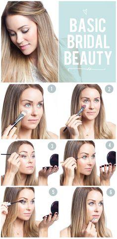 Basic bridal makeup steps foundation, blush, eyeshadow, eyeliner, mascara, lippie #bridalmakeup #bridalmakeover #bridalicious