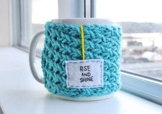 """Blue Personalized Mug Sweater Cozy with Felt Teabag Tag, """"Rise and Shine"""" - Made To Order in Vancouver"""