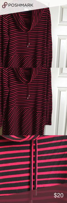Chico Striped Tunic Red and black with large Cowl Neck. Drawstring with Silver Metal ends. Worn and washed once. Chico's Tops Tunics
