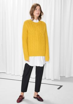 & Other Stories image 2 of Cable Knit Jumper in Yellow