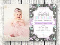 Winter Onederland birthday photo invitation 1st by PinkPopRoxx