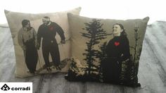 Couple cushions by Schuss Cm. 42 x 42 Drawing with dark grey Price € 100.00
