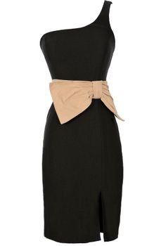 Bow With It One Shoulder Pencil Dress in Black/Beige  www.lilyboutique.com