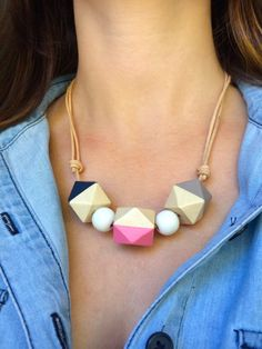 Hand painted geometric wooden bead necklace/ statement necklace/ nautical/ color block/ pink & grey/ navy/ bridesmaid/ gift for her/ hexagon Wooden Bead Necklaces, Wooden Jewelry, Wooden Beads, Custom Jewelry, Handmade Jewelry, Bead Jewellery, Clay Jewelry, Beaded Jewelry, Geometric Necklace