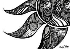 Shop Noah's ART's store featuring unique designs on various products across art prints, tech accessories, apparels, and home decor goods. Henna Doodle, Doodle Art, Doodles Zentangles, Zentangle Patterns, Pen Doodles, Maori Designs, Sun Designs, Sun Art, Canvas Prints