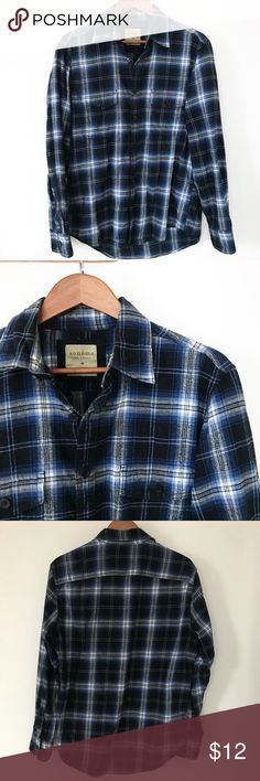 Sonoma Blue Black Plaid Casual Button Down Sonoma soft plaid button down. Black and blue colors. Soft like a flannel shirt. 100% Cotton, two Pocket front.  Gently used condition, minor pilling throughout Sonoma Shirts Casual Button Down Shirts