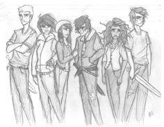 Children of the big three, Jason, Thalia, Bianca, Nico, Hazel, and Percy.  FINALLY!!  SOMEONE PUTS HAZEL IN THE PHOTO!!!