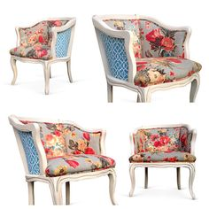 Vintage French Style Barrel Back Lounge Chairs Grey Pink Coral Blue Floral Flower Upholstery Fabric